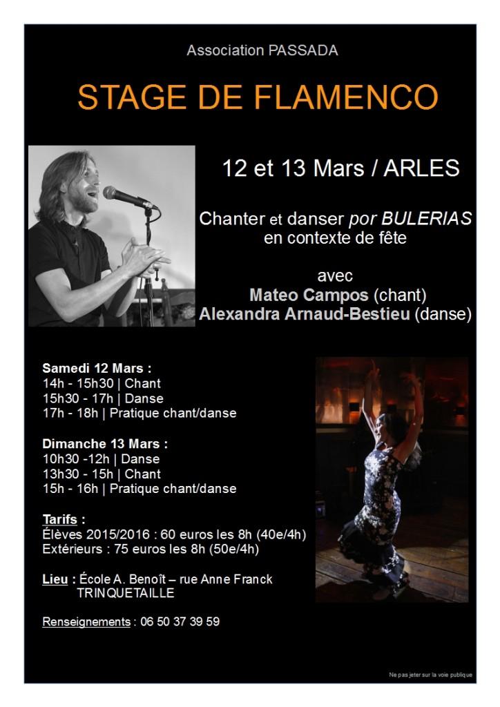 Stage buleria flamenco danse chant arles 12 et 13 mars 2016
